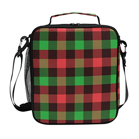 25adc087679c Amazon.com: FOLPPLY Christmas Red Black Green Plaid Lunch Bag ...