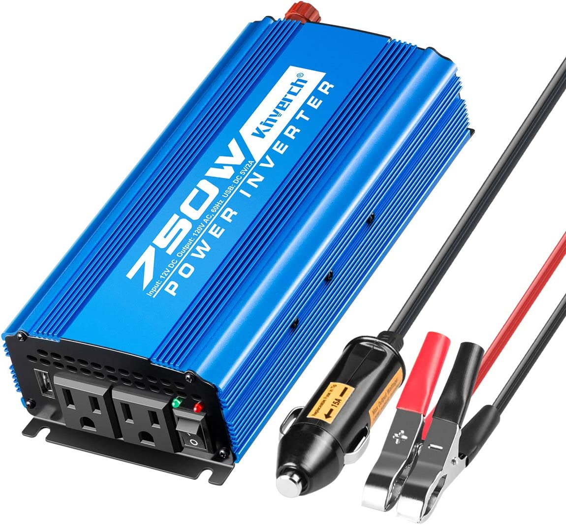 Kinverch 750W Continuous 1500W Peak Power Inverter DC 12V to 110V Car Converter AC with 2 AC Outlets and 2A USB Charging Port