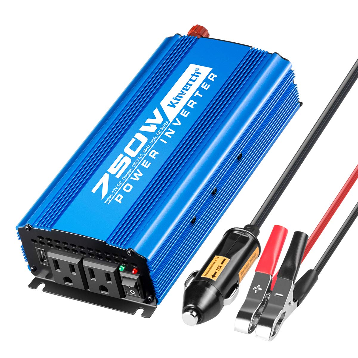 Kinverch 750W Continuous/1500W Peak Power Inverter DC 12V to 110V Car Converter AC with 2 AC Outlets and 2A USB Charging Port by kinverch