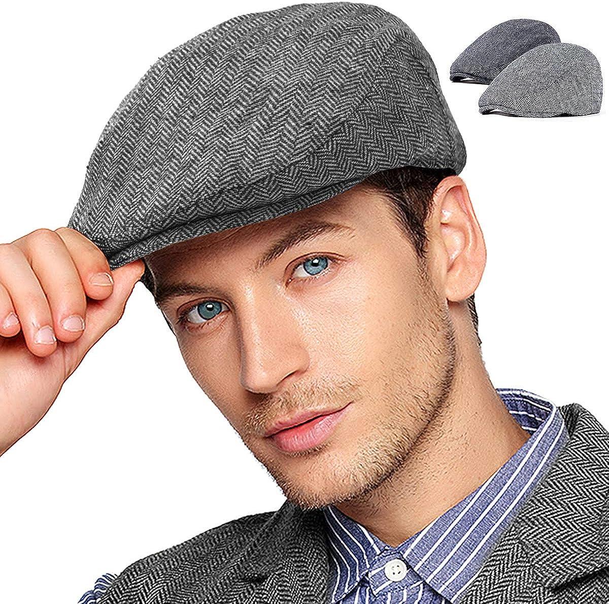 2Pack Adjustable Newsboy Hats for Men Flat Cap Mens Irish Cabbie Gatsby  Tweed Ivy at Amazon Men's Clothing store