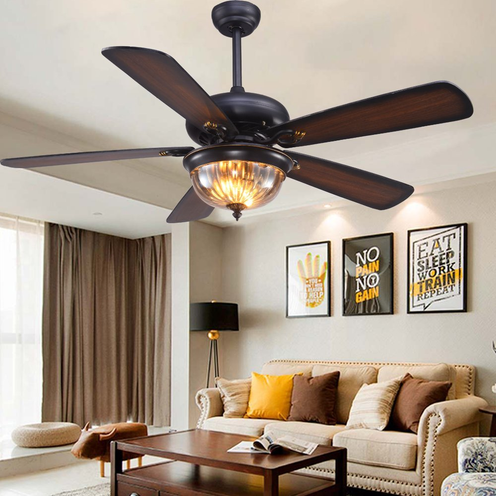 RainierLight Rustic Ceiling Fan Lamp 5 Reversible Wood Blades Frosted Glass Lampshade Remote Control Led Light Chandelier for Bedroom/Living Room Mute Energy Saving Fan (48inch)