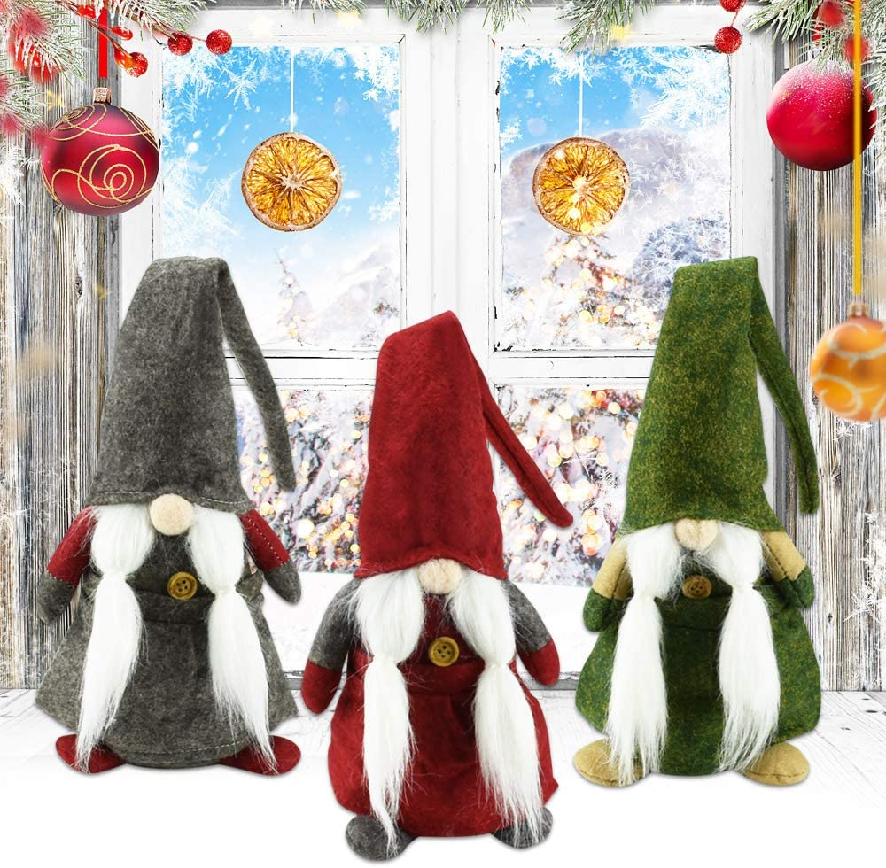 GOLRISEN Gnomos de Navidad Peluche, 3 Unidades Muñecos Navideñas Grandes, Decoración Navideña sin Rostro, 45 cm, Adornos Navideños Muñecos, Verde Gris y Rojo, para Decorar Mesas o como Regalo
