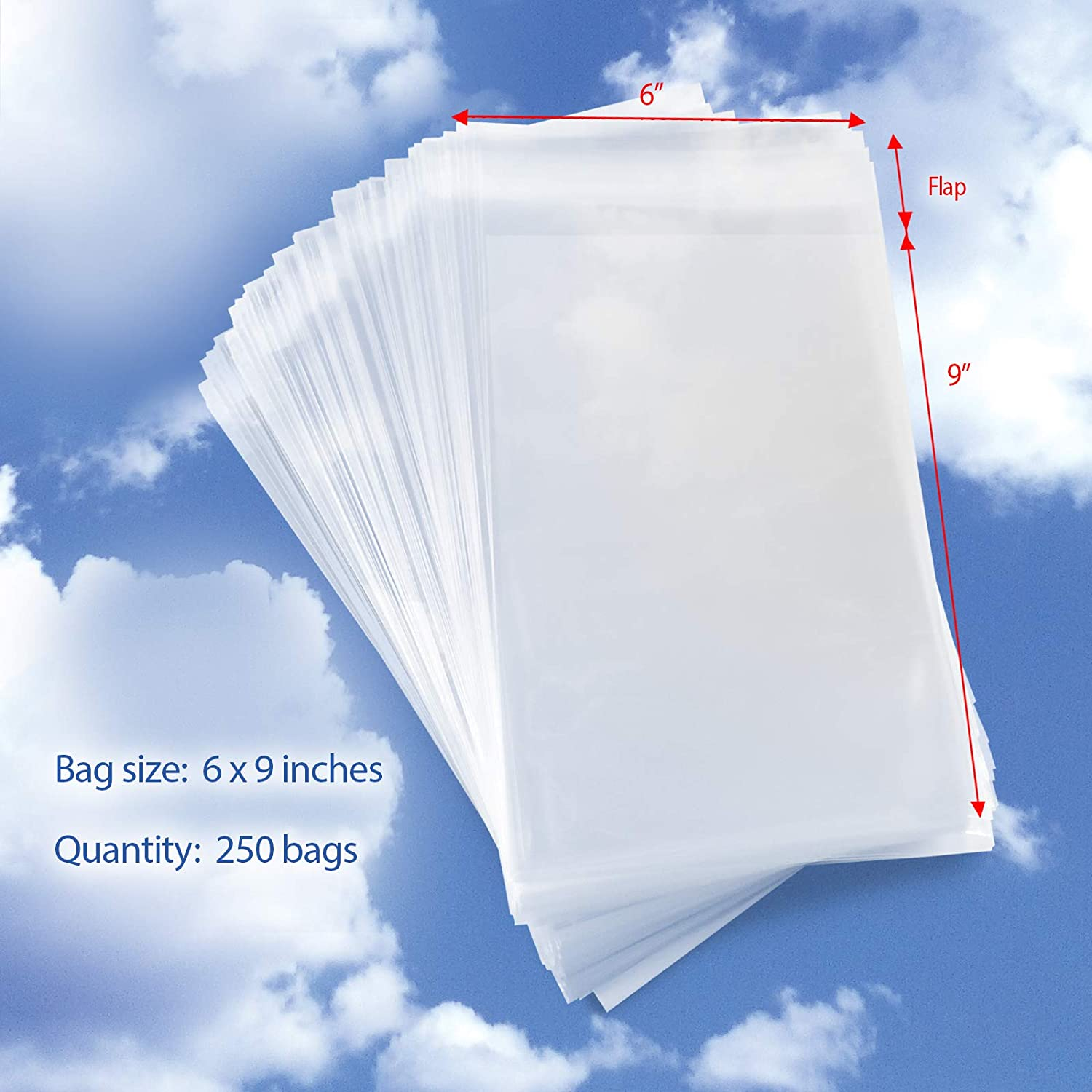 """Cellophane Peel /& Seal Clear 50-8/"""" x 8/"""" Cello Bags for Greeting Cards"""