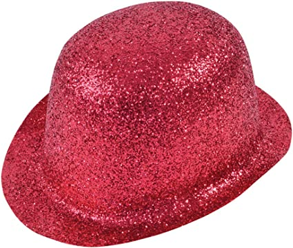 Red Glitter Bowler Hat Adult Size