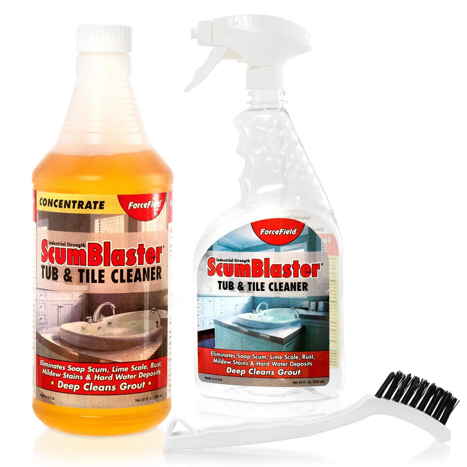 ForceField ScumBlaster: Soap Scum Remover, Tile and Grout Cleaner, Hard Water Stains, Mildew and Rust, Industrial Strength by ForceField