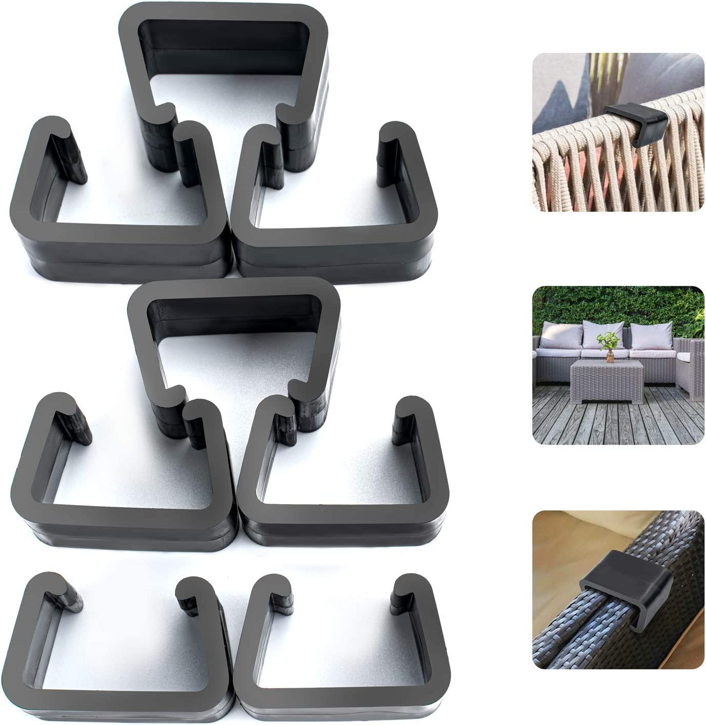 HENMI Patio Furniture Clips, Outdoor Wicker Furniture Rattan Chair Sofa Fasteners Clip Sectional Connector 8 PCS (Small)