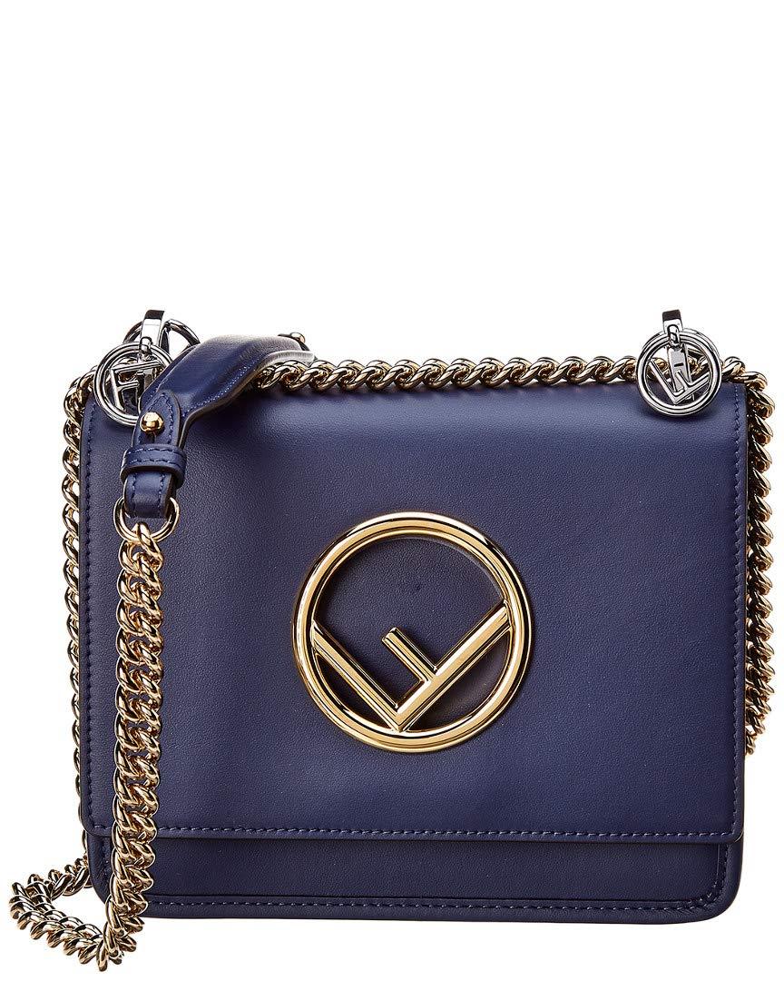 da43579bb7 Amazon.com  Fendi Women s Kan I Logo Small Leather Shoulder Bag Blue