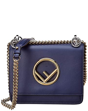 a2fda074c9 Amazon.com: Fendi Women's Kan I Logo Small Leather Shoulder Bag Blue