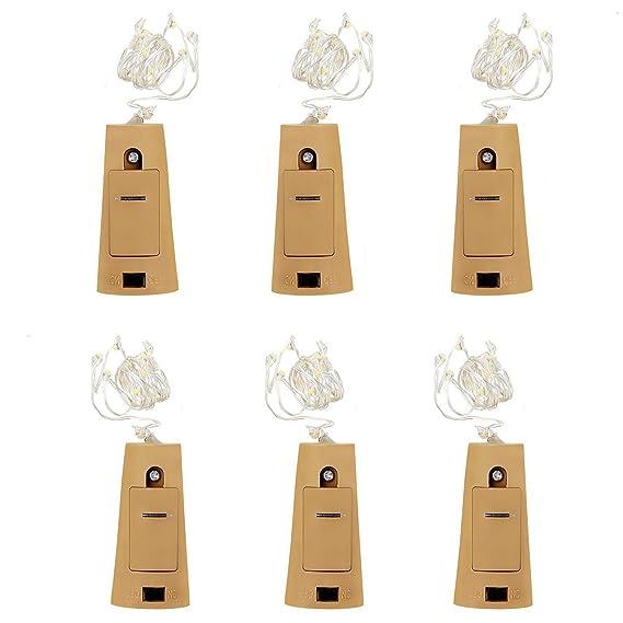 Juego de 6 Guirnaldas luminosas - luz de Navidad tapón de la botella, luces decorativas LED con batería 1 m 20LED alambre de plata cadena para Guinguette ...