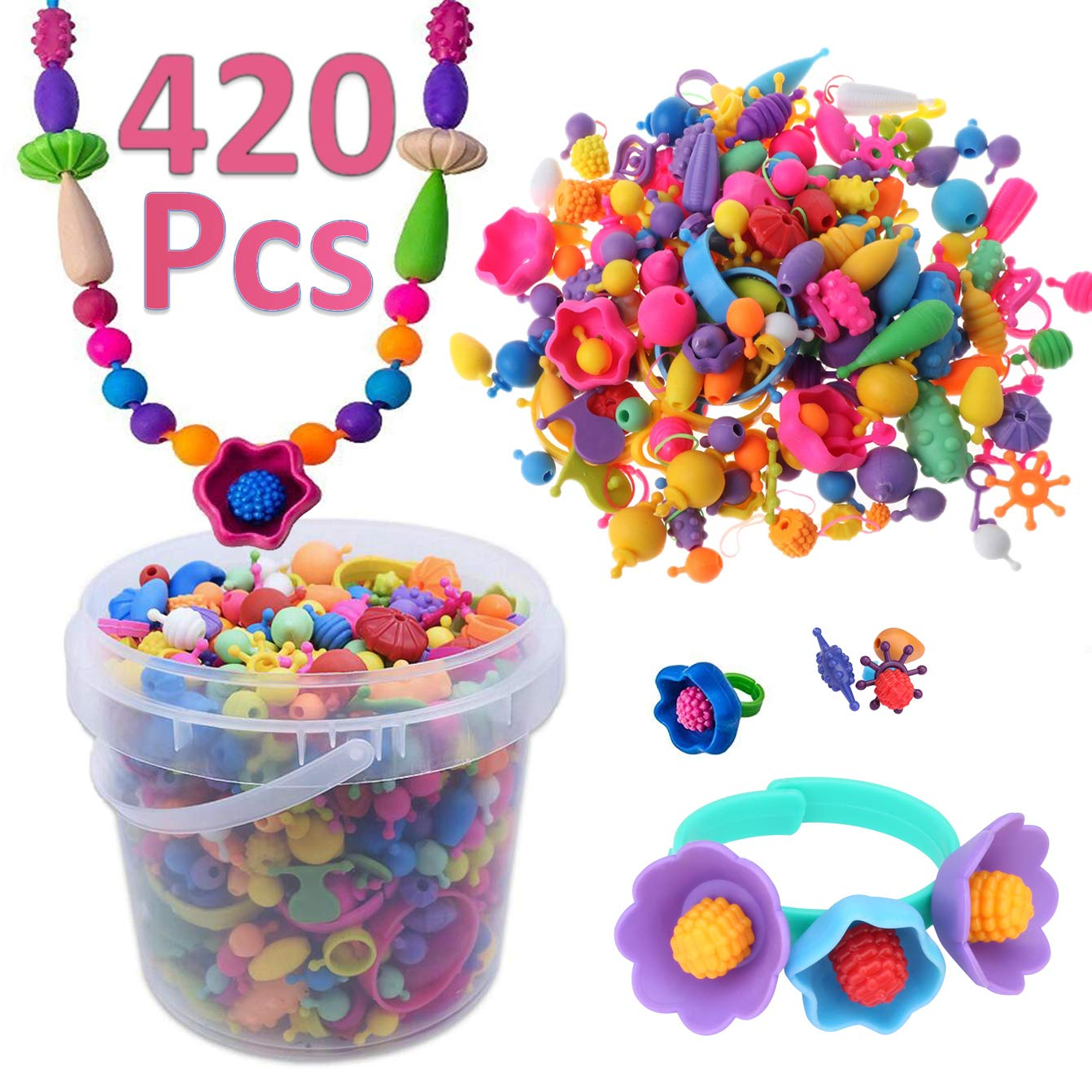 DUUTY Pop Snap Beads Set Arty Toy Bead Creativity DIY Jewelry Kit for Making Necklace Bracelet Rings Arts Crafts Toys Christmas Birthday Gifts for Kids Girls 420 Pcs