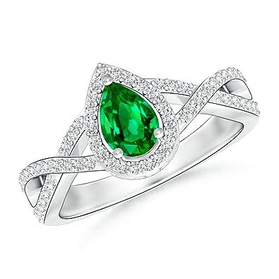 Angara Pear Emerald and Diamond Crossover Shank Ring rmS4A2u
