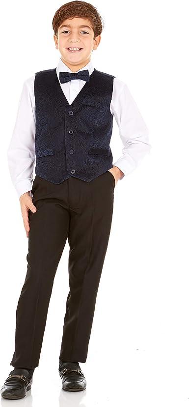 Vittorino Boys 4 Piece Suit Set with Vest Big /& Little Kids Formal Apparel Dress Shirt Bow Tie Pants /& Pocket Square
