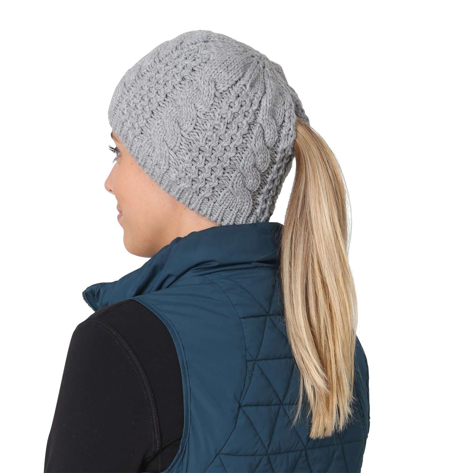 TrailHeads Women's Cable Knit Ponytail Beanie - storm grey by TrailHeads (Image #6)