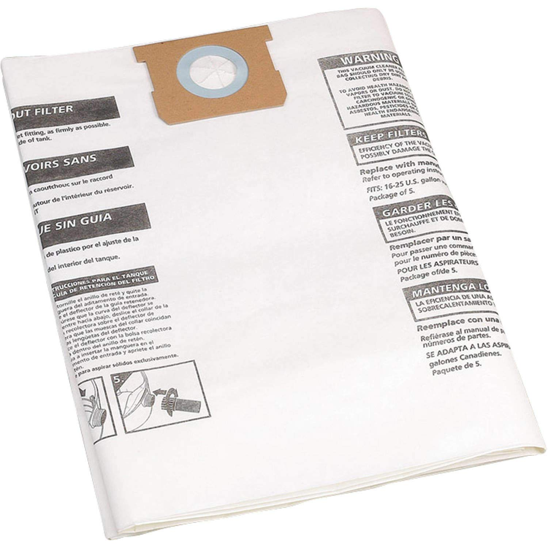 Shop-Vac 9066300, Type G, 15-22-Gallon Disposable Collection Filter Bag, 5 Bags
