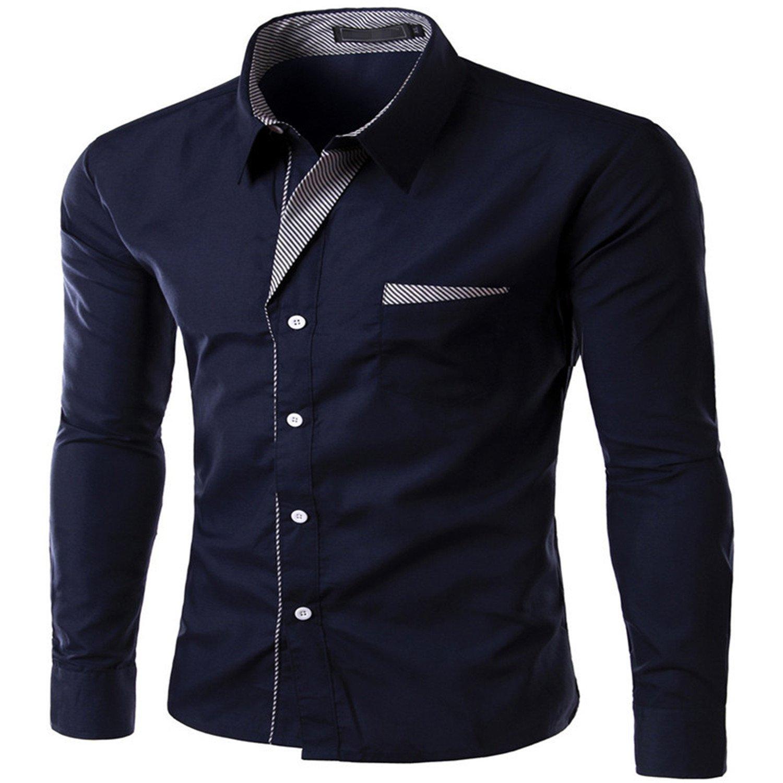 Beancan New Fashion BrandLong Sleeve Shirt Men Korean Slim Design Formal Casual Male Dress Shirt Size M-4Xl Black XL at Amazon Mens Clothing store: