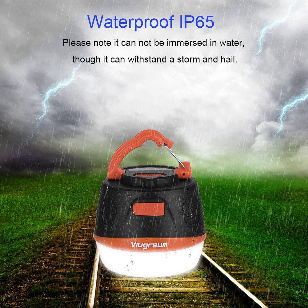 Port/átil Linterna USB Recargable IPX65 Impermeable con Funci/ón Banco de energ/ía 10000mAh Viugreum/® Linterna LED Camping