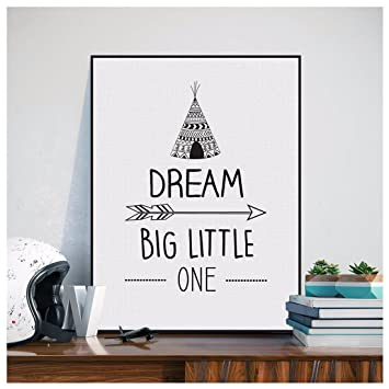 Amazon.com: ZN Dream Big Little One Quote Canvas Art Painting Print ...