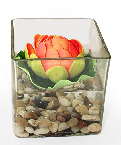 Buy Tiedribbons Glass Vessel Vase With Faux Lotus Flower And Natural