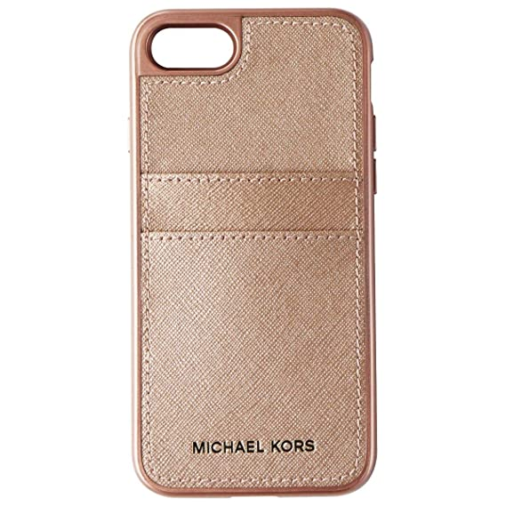 finest selection 2cadd 4c083 Michael Kors Saffiano Leather Pocket Case for iPhone 7/8 Rose Gold