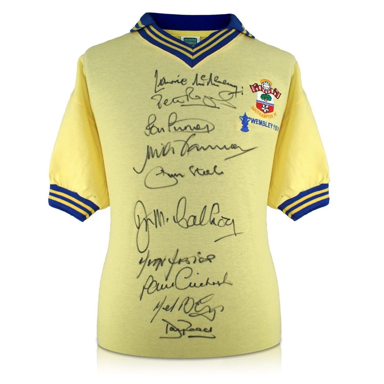 exclusivememorabilia.com Camiseta de fútbol de Southampton firmada por los ganadores de la FA Cup de 1976: Amazon.es: Deportes y aire libre