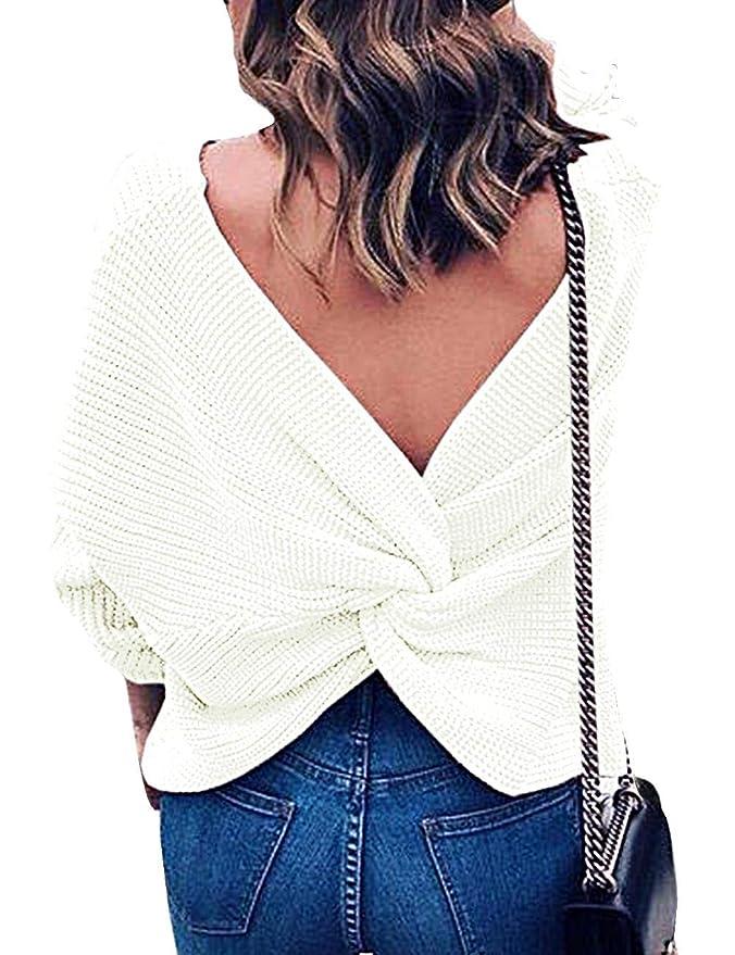 ee9f50015 Emma Mujer Jersey de Punto Primavera Suéter de Cuello V de Espalda de Las  Mujeres Knit del Batwing Oversize Ancho Tejer Sueter