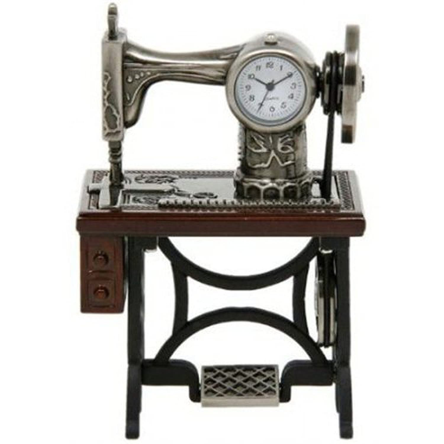 Miniature Old Fashioned Sewing Machine on Table Novelty Desktop Collectors Clock Joe Davies 0460
