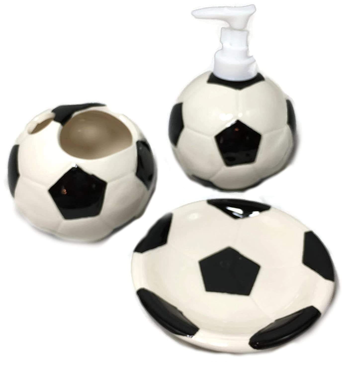 Stoneware bathroom accessories - Amazon Com Kids Sports Themed Bathroom Accessories Lotion Soap Dispenser Soap Dish Toothbrush Holder Soccer Home Kitchen