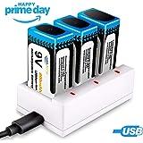 9V Pilas Recargables, keenstone 3PCS 800 mAh 9V Batería de Litio Recargable + 3-Slot 9V PP3 Cargador (Cable de Carga USB Incluido)