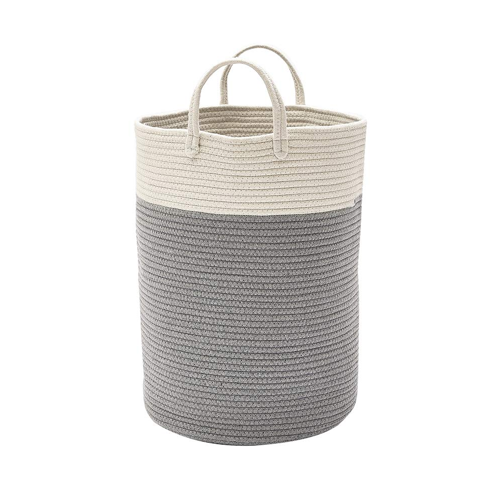 YUnnuopromi Cotton Thread Woven Bucket Laundry Basket, Toy Dirty Clothes Storage Container Blue-L