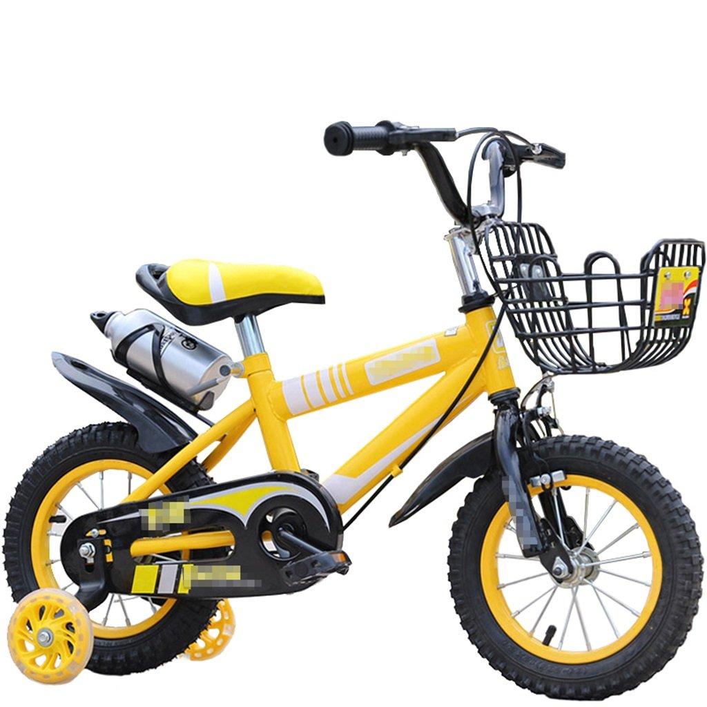 KANGR-子ども用自転車 子供の自転車マウンテンバイクに適した2-3-6-8男の子と女の子子供用おもちゃのハンドルバー/サドルの高さは、フラッシュトレーニングホイールで調節できます。ウォーターボトルとホルダー-12 / 14/16/18インチ ( 色 : イエロー いえろ゜ , サイズ さいず : 16 inch ) B07BTWNSZY 16 inch|イエロー いえろ゜ イエロー いえろ゜ 16 inch