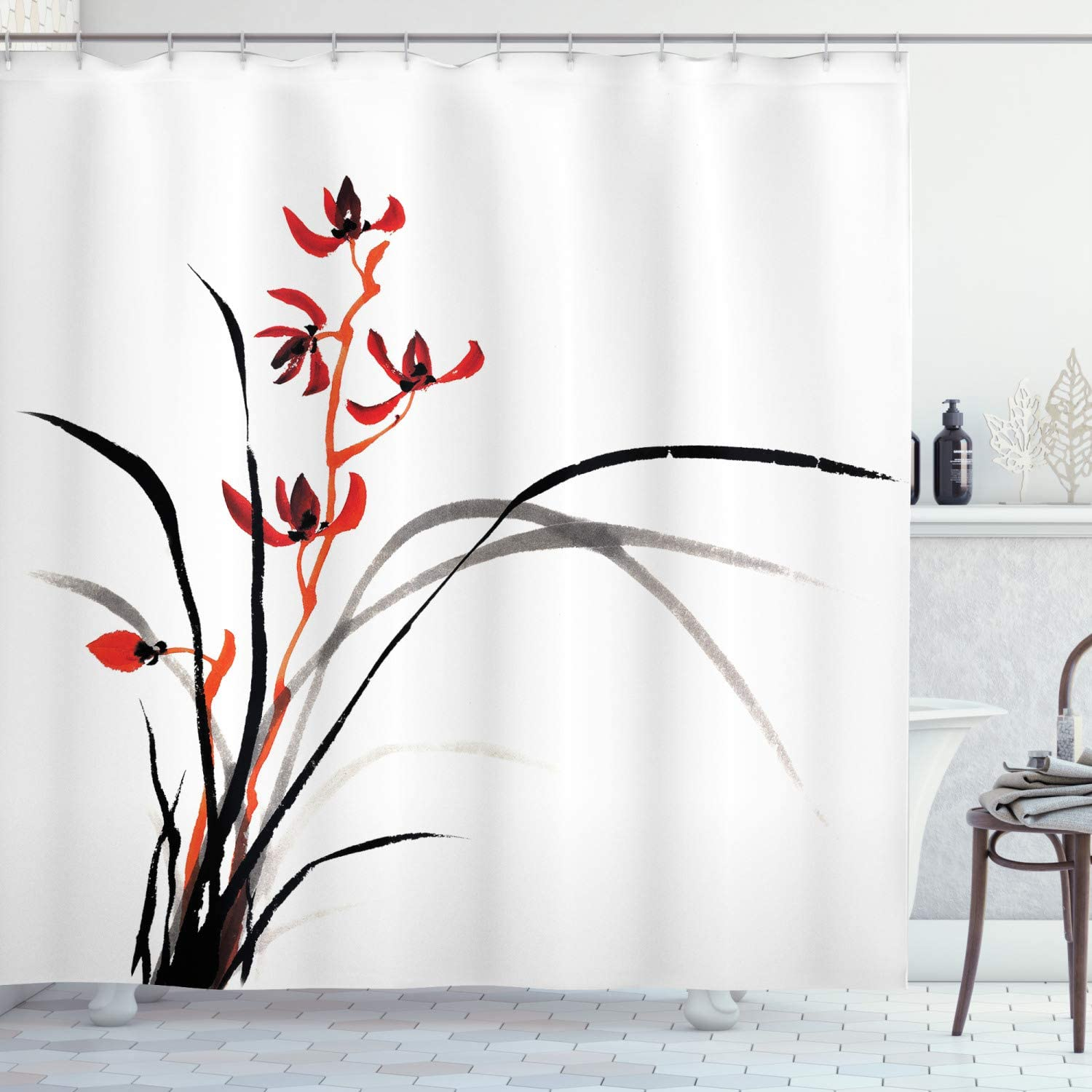 Ambesonne Japanese Shower Curtain, Classic Cultural Chinese Ink Paint of Native Wild Orchids Reflexive Birches, Cloth Fabric Bathroom Decor Set with Hooks, 84