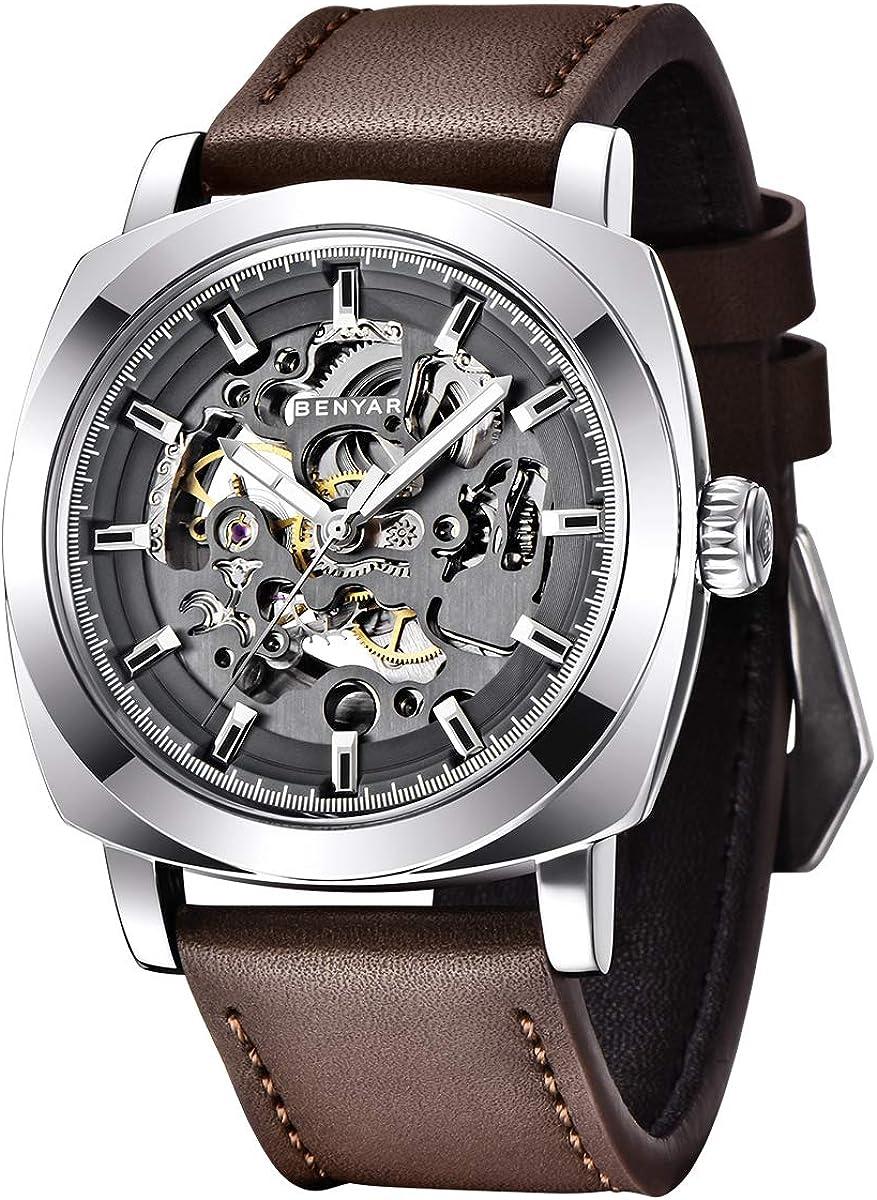 BENYAR - Reloj de Pulsera automático para Hombre | Pulsera de Cuero | Movimiento Dorado | Dial Esqueleto de 45 mm | Resistente al Agua y los arañazos | Disponible en Banda Multicolor