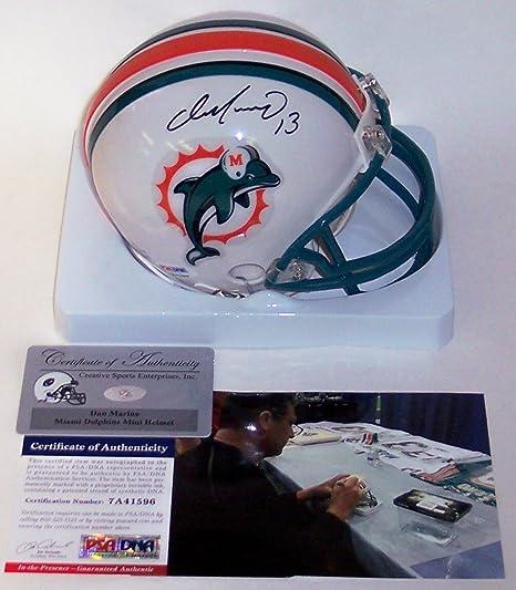 3765f137a Amazon.com  Dan Marino Autographed Hand Signed Miami Dolphins Mini Football  Helmet - PSA DNA  Sports Collectibles