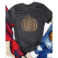 Women Fall Pumpkin Shirt Funny Leopard Print Pumpkin Graphic Tees Halloween Cute Casual Tee Shirt