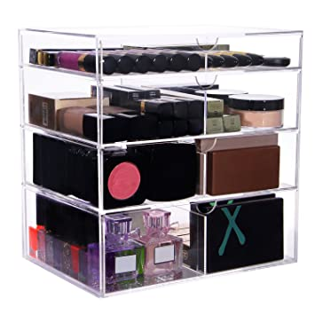 Amazoncom Lifewit Large Beauty Cube Tier Drawers Acrylic - Acrylic cube makeup organizer with drawers