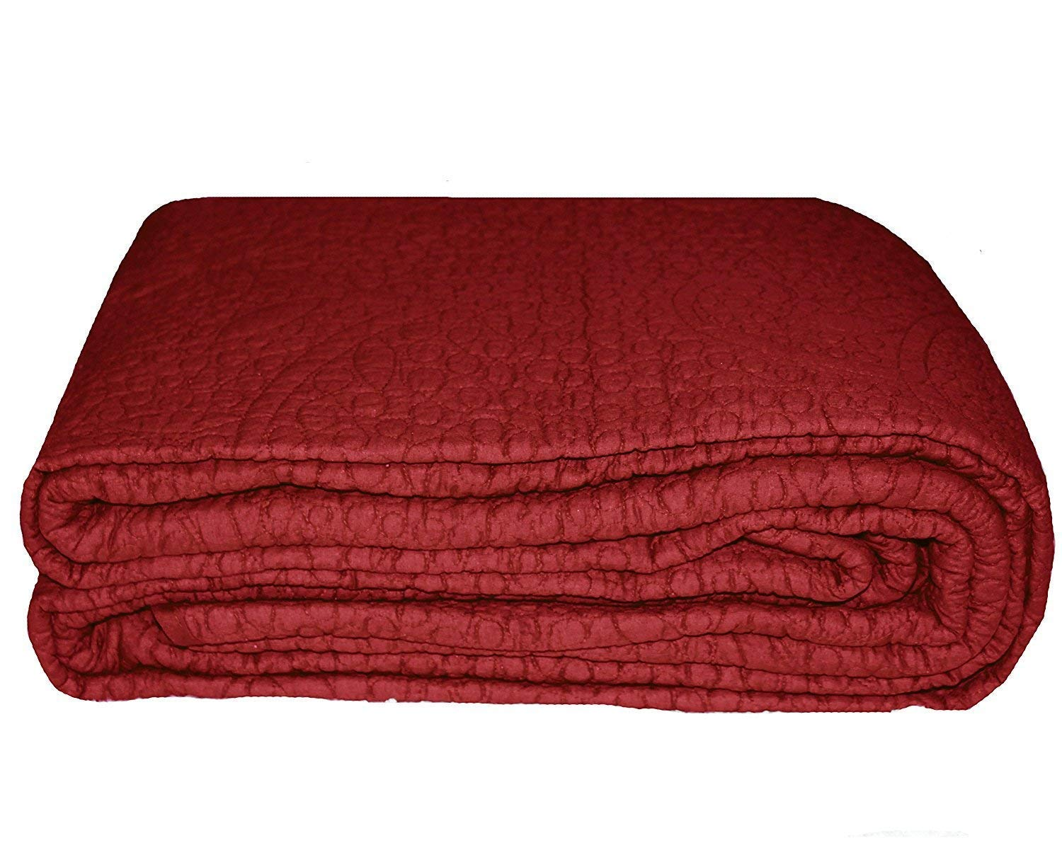 Home Must Haves Color 100/% Cotton Quilt Bedspread Bed Cover Coverlet 3-Piece Set Queen Size 90x90 Inches Burgundy