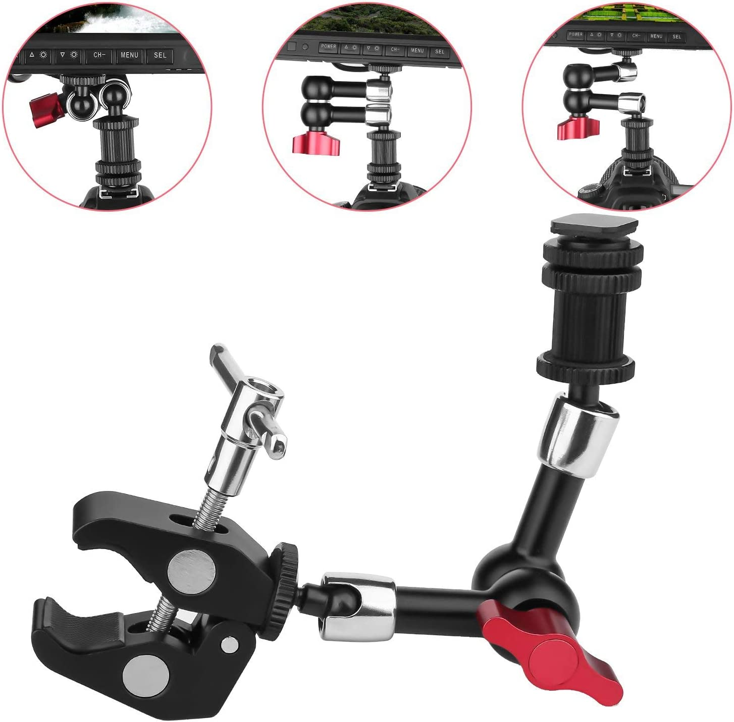 LCD Monitor Flash Light Semoic 7Inch Adjustable Articulating Friction Magic Arm /& Large Super Clamp Compatible with DSLR Camera Rig Led Lights