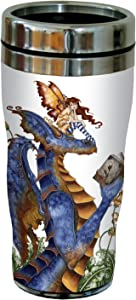 Tree-Free Greetings sg23582 Fantasy Book Club Reading Dragon and Fairy by Amy Brown, Sip 'N Go Stainless Travel Tumbler, 16-Ounce, Multicolored