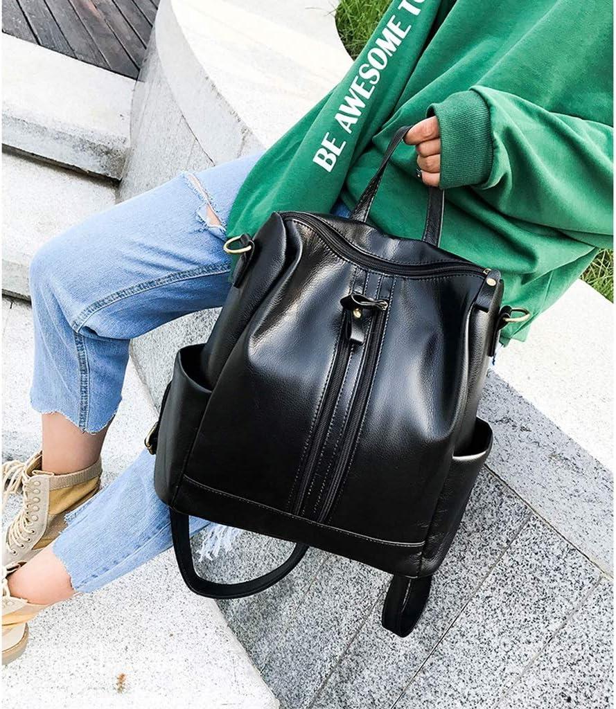 KJVHJN Casual Womens Backpack Dual Purpose Handbag Zipper Waterproof PU Daypack Travel Outdoor Shopping College School Bag Color : Black, Size : 281532cm