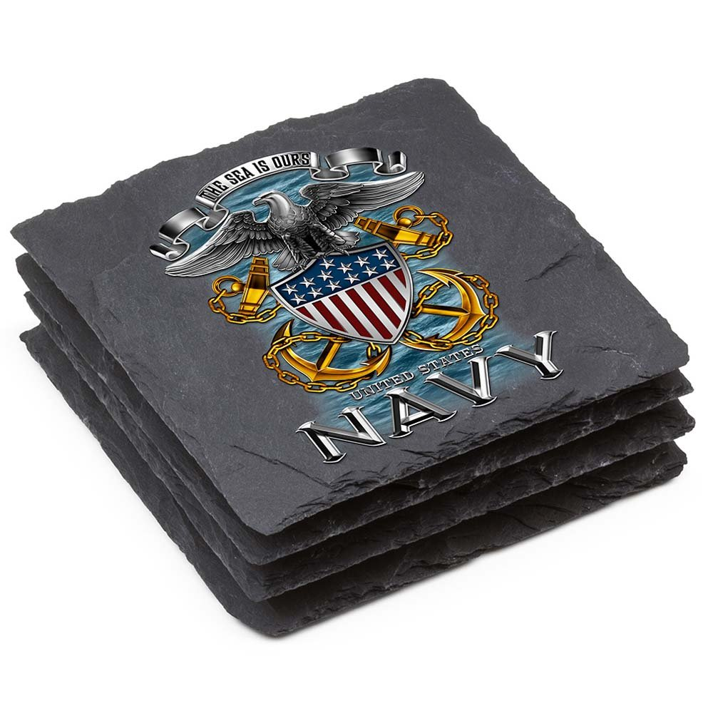 Navy Natural StoneコースターUnited states- Full印刷Eagle Gift Box Set Of 4 MM144-SC4BX Gift Box Set Of 4  B077FKCF4X