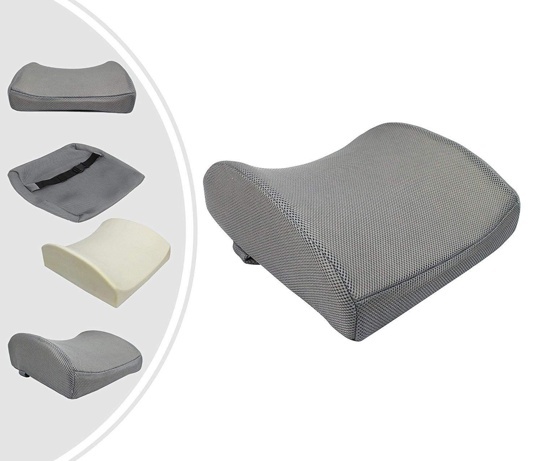 Leogreen - Cojín de Apoyo Lumbar, Almohada de Apoyo para la Espalda, Gris, Material de relleno interior: Espuma de memoria, Peso: 0,61 kg