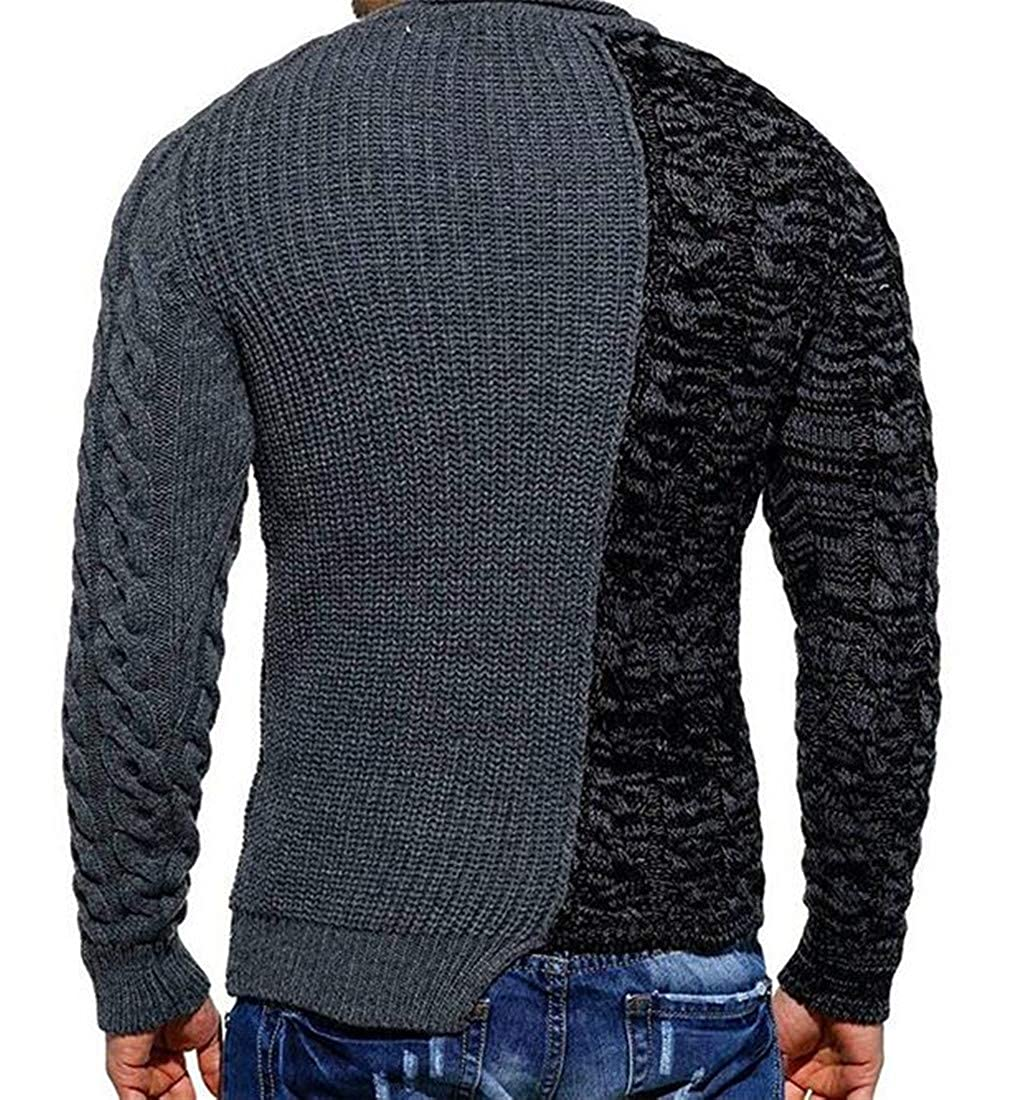 Etecredpow Mens Casual Spell Color Cable Knitteed Crewneck Pullover Sweaters