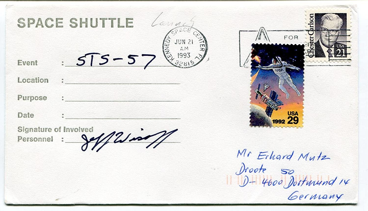 1993 Space Shuttle Kennedy Space Center Florida Space Cover SIGNED