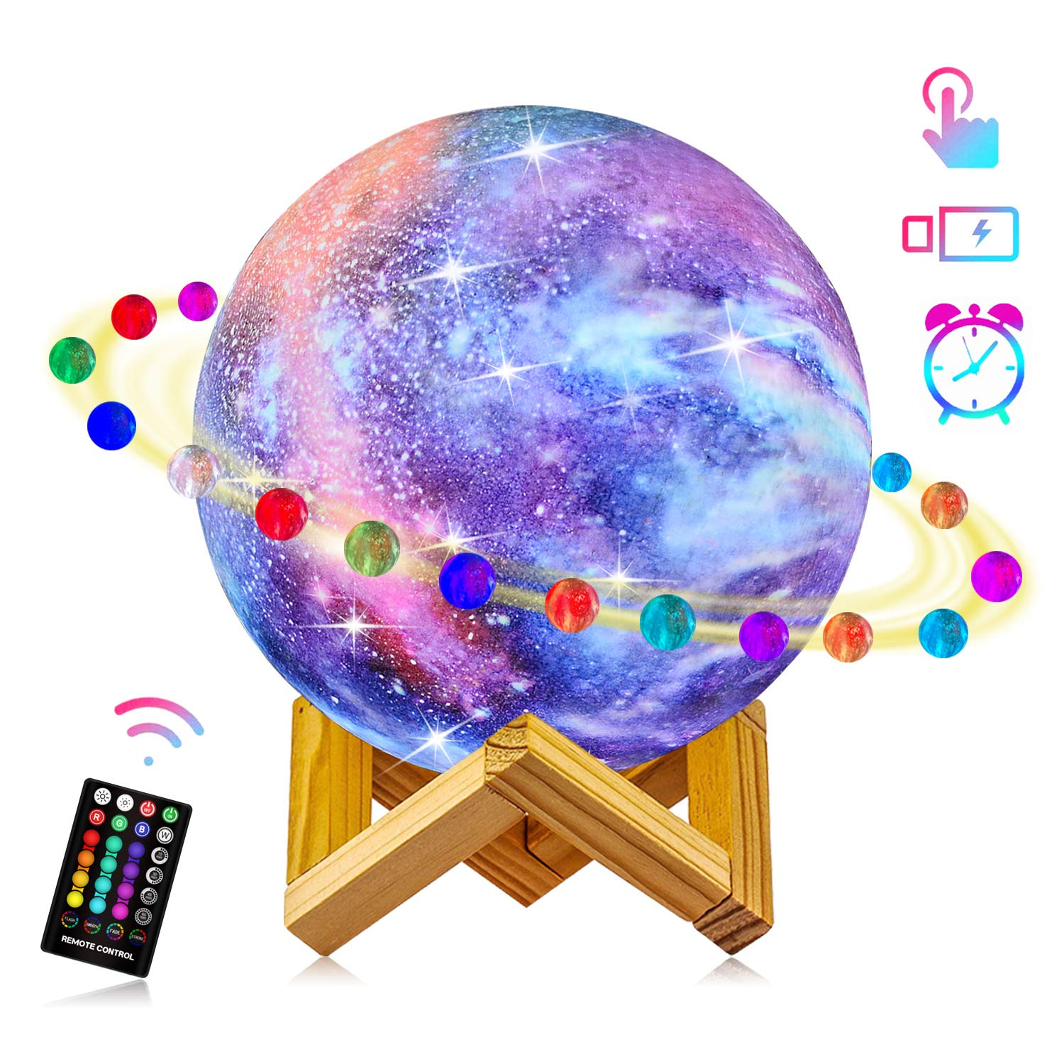 Starry Moon Lamp, LOGROTATE Galaxy Night Light 16 Colors 3D Print LED Moon Light with Stand, Remote&Touch Control, USB Rechargeable Gift for Women Kids Birthday, Bedroom Home Decor, 5.98 inch