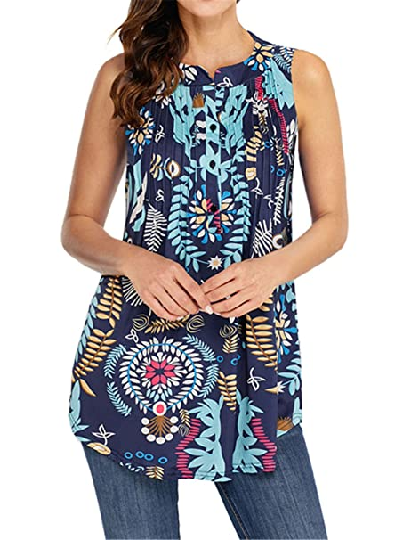 60d3f84e339 FIYOTE Womens Sleeveless V Neck Floral Summer Tunics Tops Blouses Plus Size  Multicolor: Amazon.co.uk: Clothing