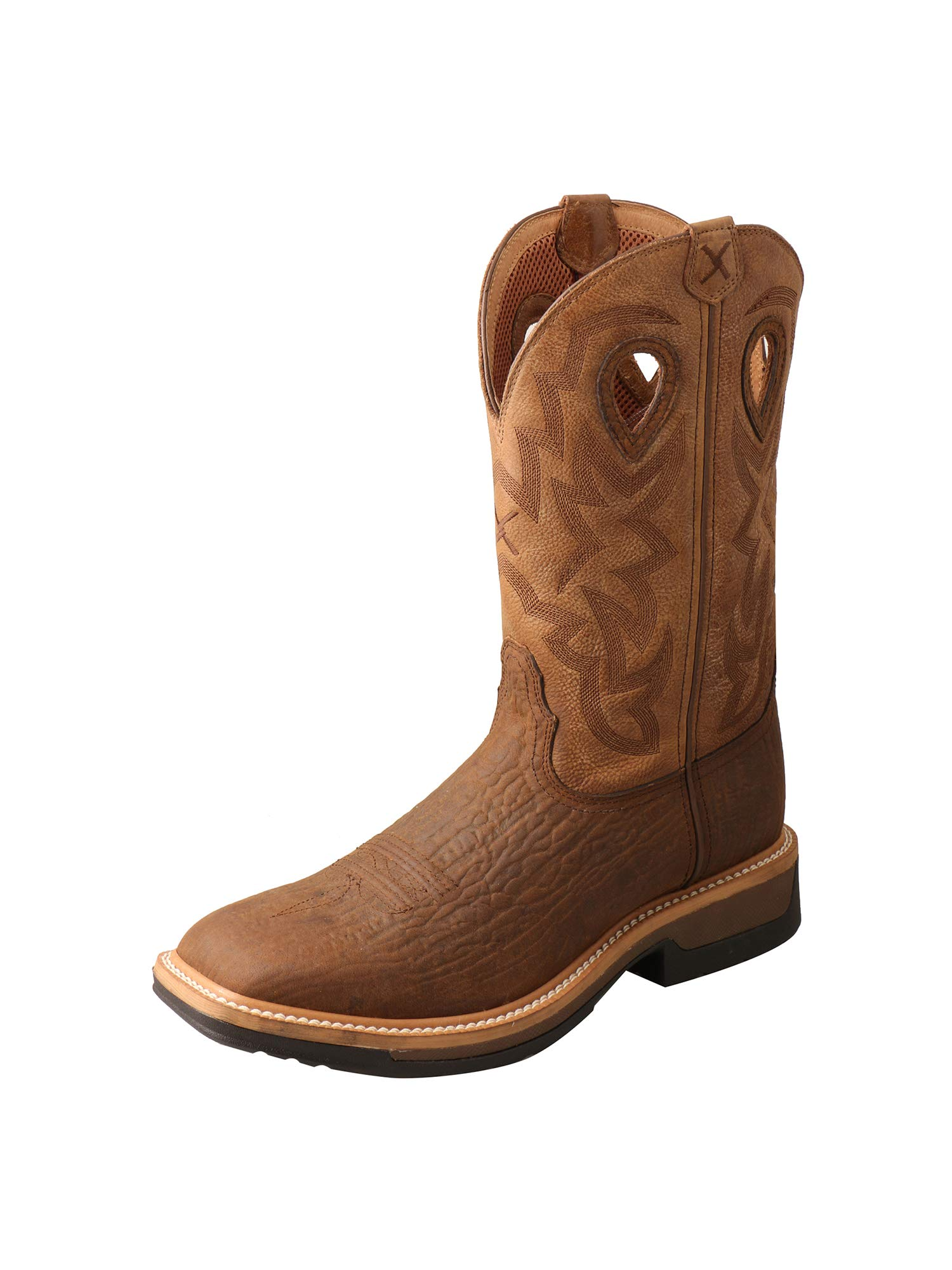 Twisted X Men's Lite Cowboy Western Work Boot Wide Square Toe Brown 11 D by Twisted X