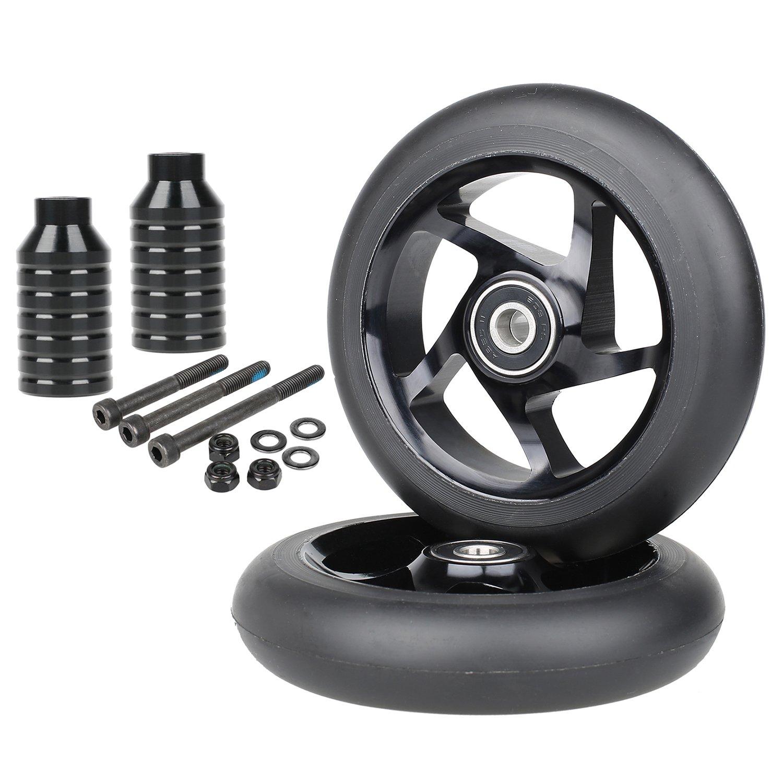 Kutrick Complete 2pcs 100mm Pro Scooter Wheels with 2pcs Pro Stunt Scooter Pegs Kit - Black/Black Peg