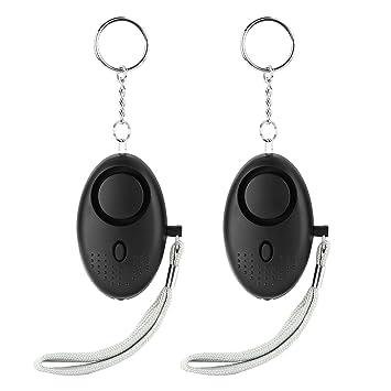 LESOLEIL 2 pcs/130 db alarma Personal de emergencia con llavero linterna y correa para la muñeca para activación negro