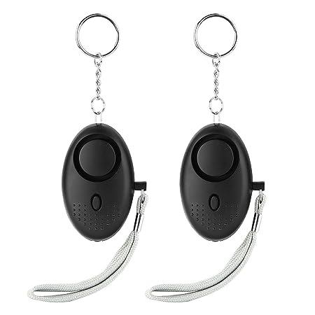 LESOLEIL 2/pcs//130/db alarma Personal de emergencia con llavero linterna y correa para la mu/ñeca para activaci/ón negro