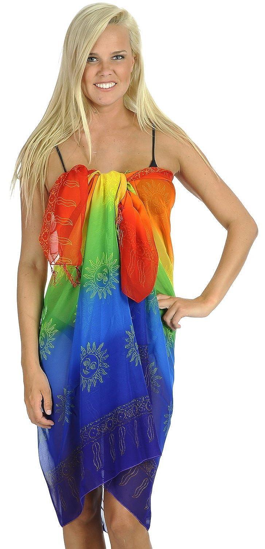 La Leela leichte Chiffon Sonne Multi 5 in einem Bademode / Badeanzug vertuschen / Tunika / sundress / Bikini Schlitz Rock / Damen Pareo / plus Größe Badeanzug Sarong langes Kleid 182x108 cm wickeln